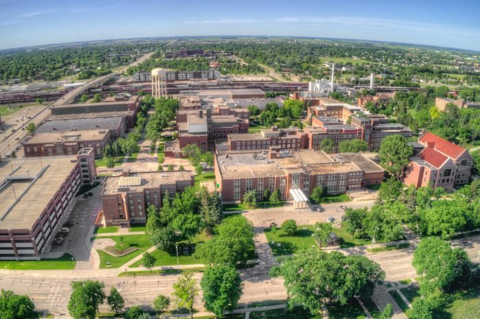 Aerial Drone View of the University of North Dakota in Grand Forks during the Summer