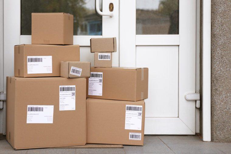 Delivered parcels on floor near front door