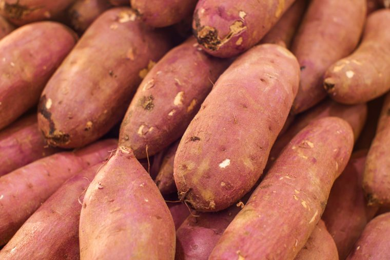 japanese potatoes in market display for sell in the morning