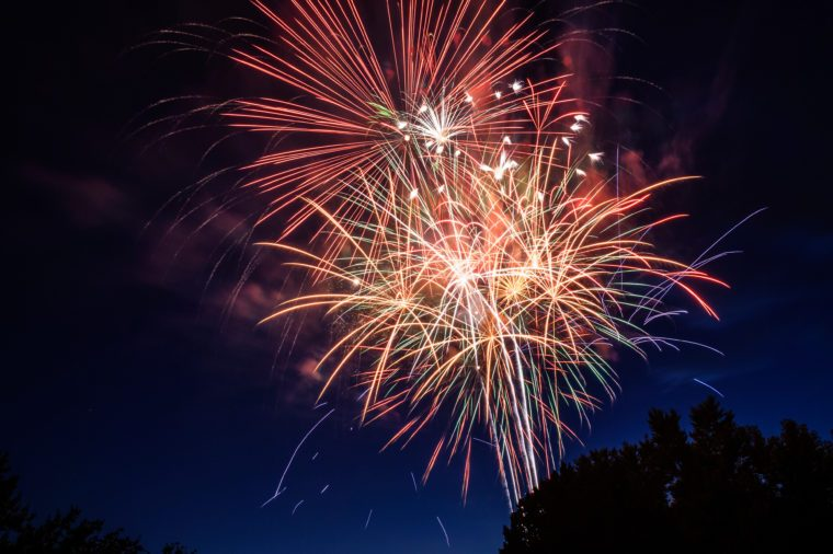 July 4th fireworks in Boise, Idaho, USA with copy space
