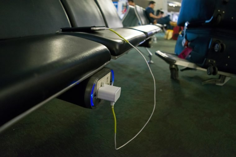 Power station founded under the seat for charging a devices in airport waiting area
