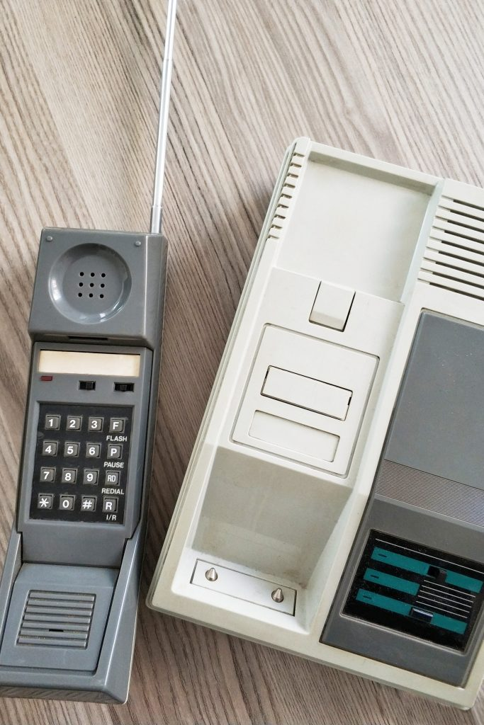 Cordless telephone on table