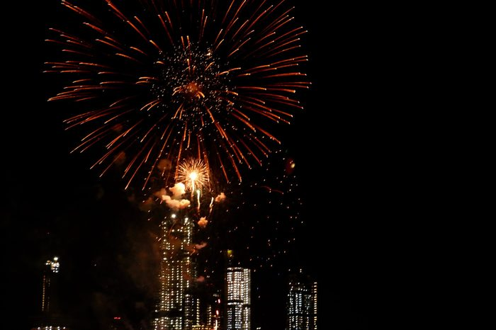 A colorful fireworks display over the Hudson River, viewed from Weehawken, New Jersey