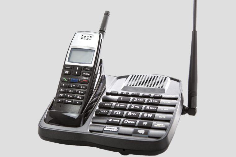 Long Range cordless phone on white background