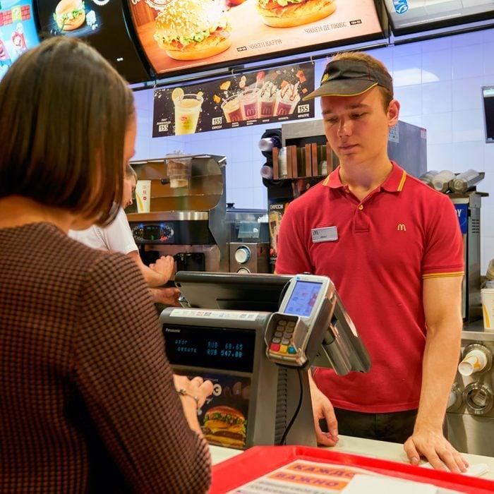 unhappy mcdonalds cashier