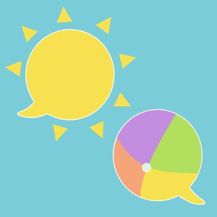 Illustration of beach ball and sun as speech bubbles