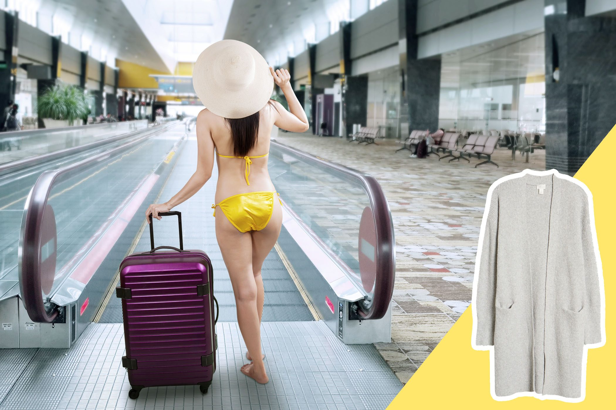 Woman wearing bathing suit in an airport with inset of cardigan to buy