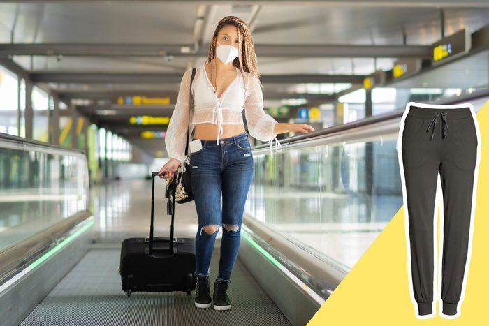 Woman wearing tight clothes in an airport with inset of loose pants to buy