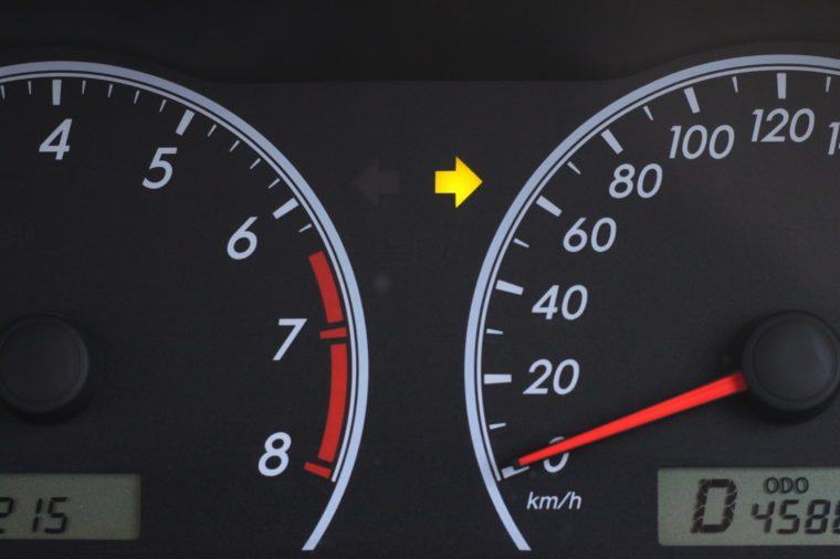 Right turn signal on the car dashboard