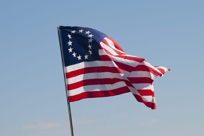 Original flag of the United States depicted by Betsy Ross.