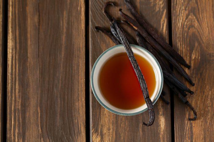 vanilla extract on wooden surface