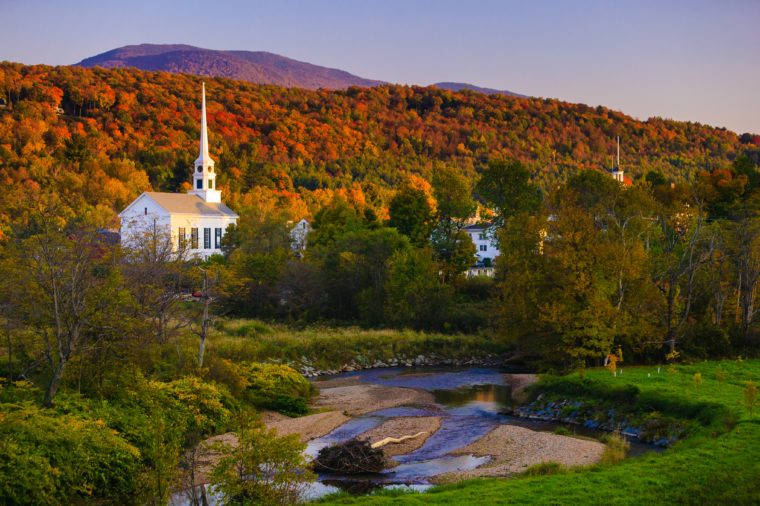 Fall Foliage and the Stowe Community Church, Stowe, Vermont, USA