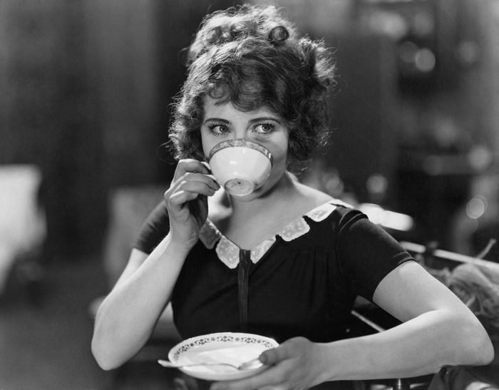 Portrait of woman drinking from teacup