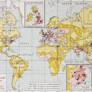 World population density at the end of 19th century, old map. By Paul Vidal de Lablache, Atlas Classique, Librerie Colin, Paris, 1894 (first edition)
