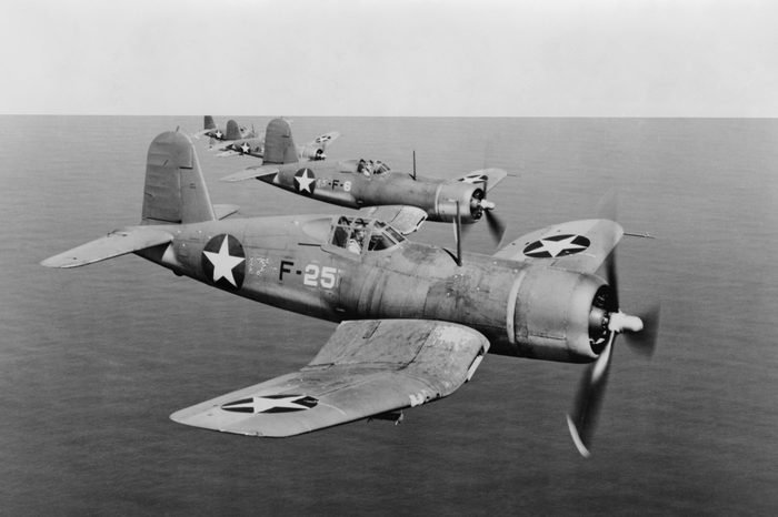 U.S. Navy F4Us, Corsairs, in flight over South Pacific in 1943, during World War 2.