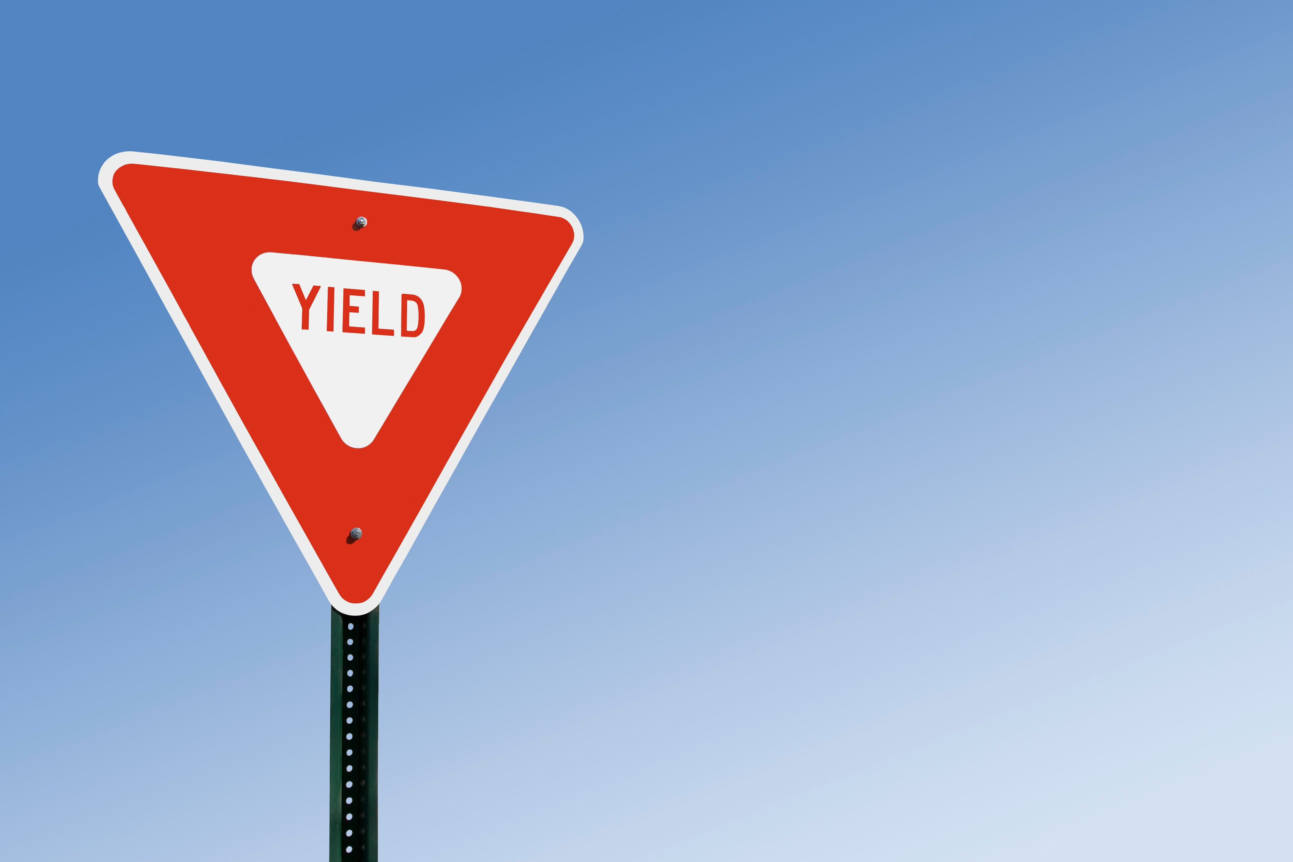 Yield Sign With Copy Space