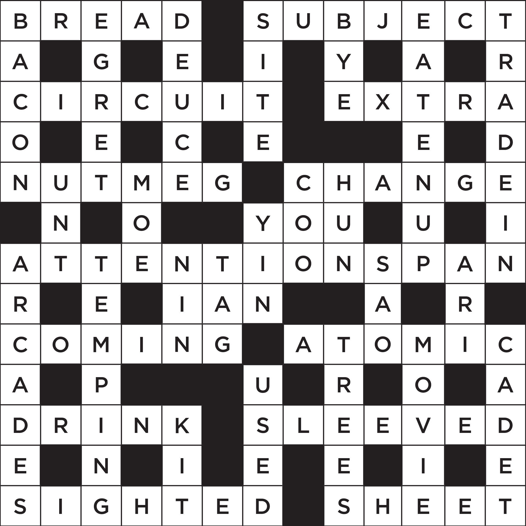 short themed crossword puzzle