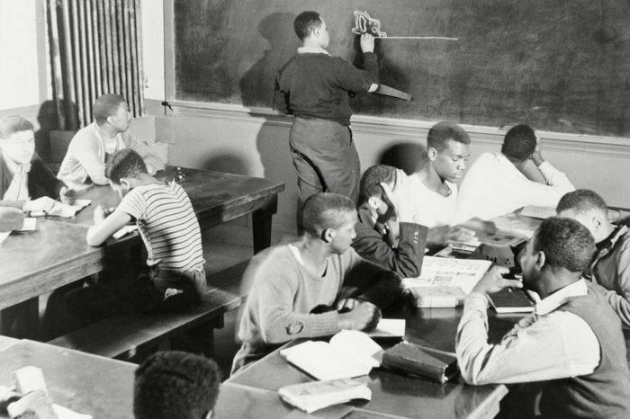 Young African American men receiving instruction
