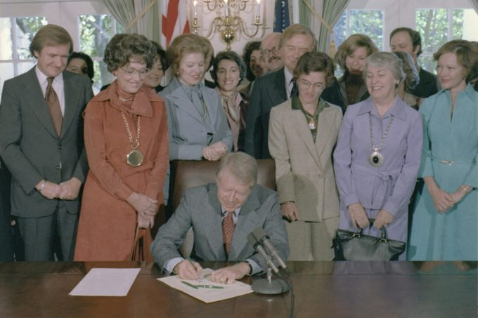 Jimmy Carter signs a House of Representatives Resolution to extend the deadline for state ratification of the for Equal Rights Amendment from 1979 to 1982