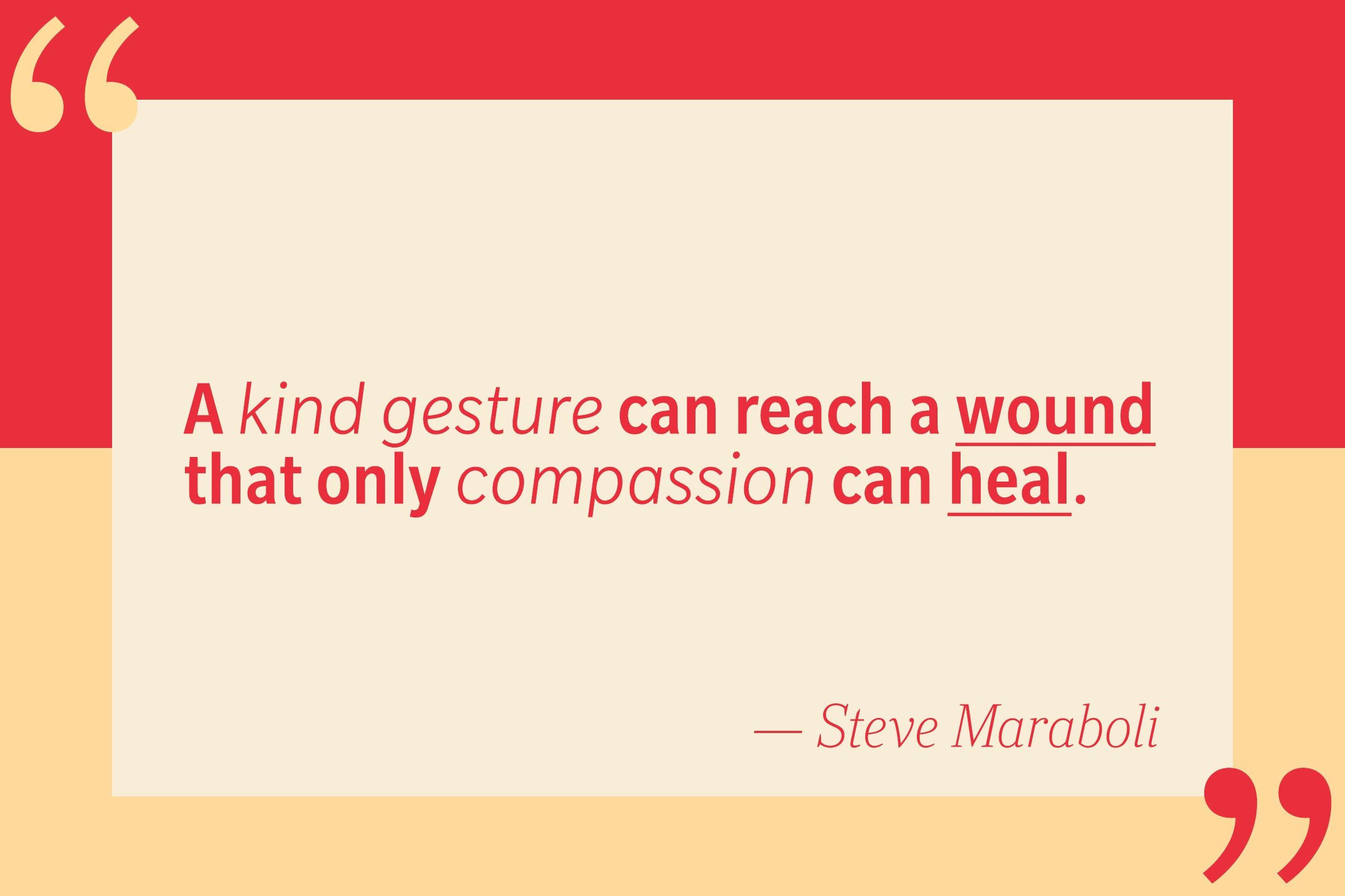 A kind gesture can reach a wound that only compassion can heal. — Steve Maraboli
