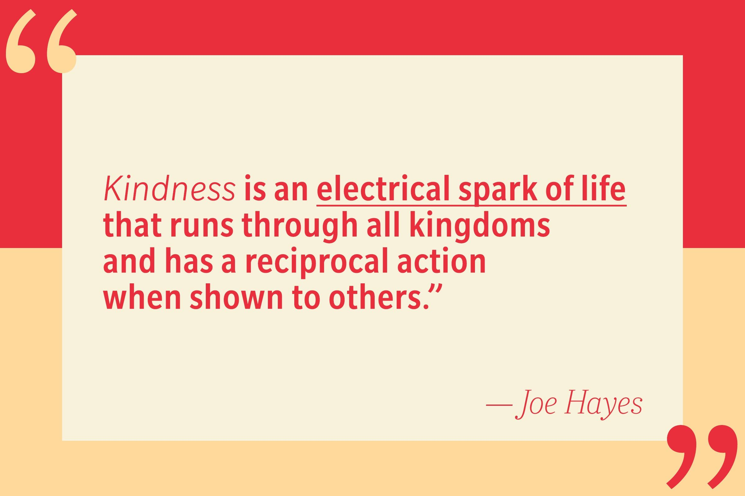 Kindness is an electrical spark of life that runs through all kingdoms and has a reciprocal action when shown to others. — Joe Hayes