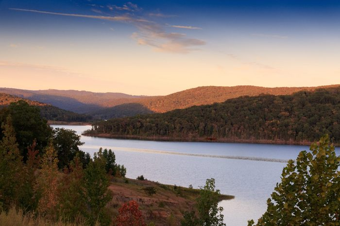 A beautiful view of Fort Smith Lake nestled in the Boston Mountains located in Fort Smith Arkansas 2017