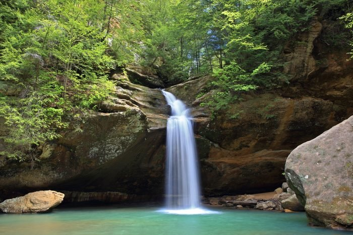 A panoramic view of the beautiful lower falls at Old man's Cave in Hocking Hills State Park, Ohio.