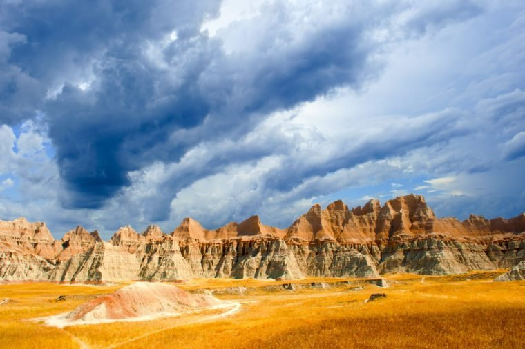 A stormy day the the Badlands national park south dakota