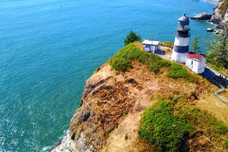 Aerial View Of Lighthouse On Cape Disappointment On Rocky Point - Washington, USA - 4K Aerial Footage