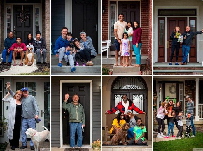 portraits of neighbors on their doorsteps