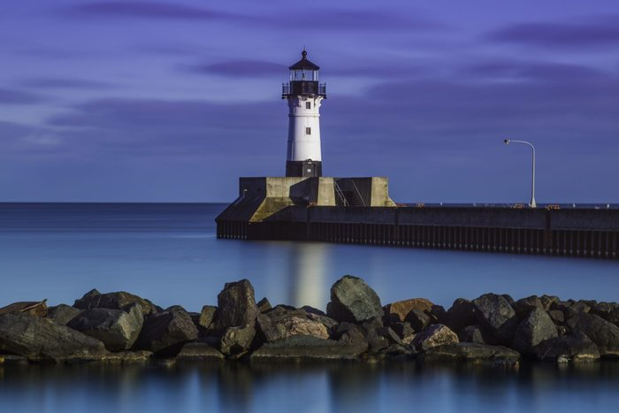 Beautiful view of the lighthouse at the harbor in Duluth's city center