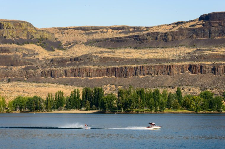 Boat and Water Skier at Steamboat Rock State Park