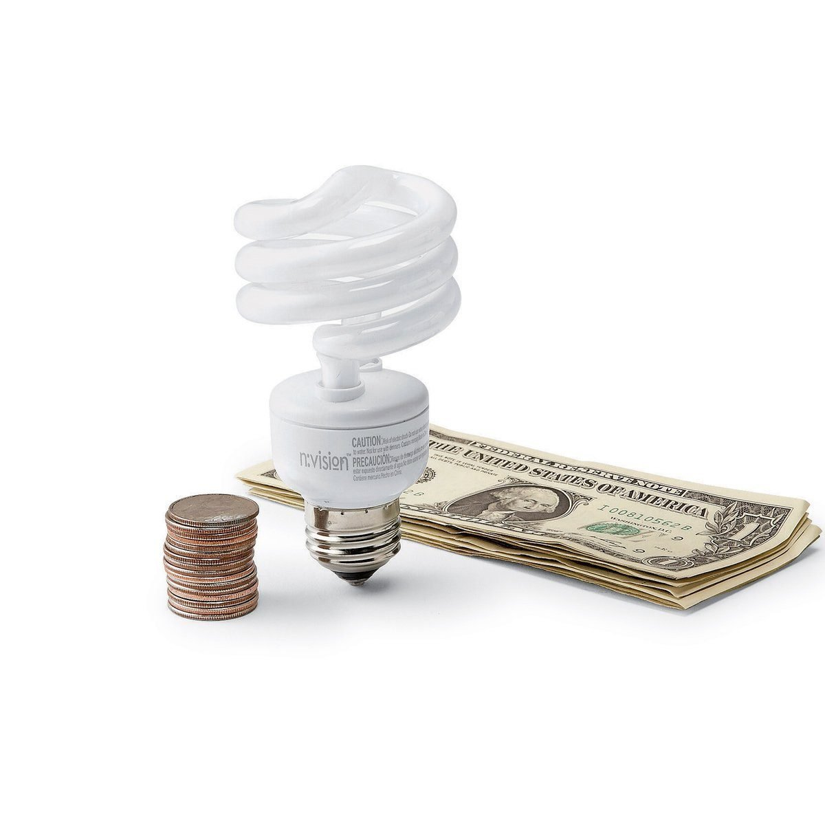 CFL lightbulb between coins and dollar bills