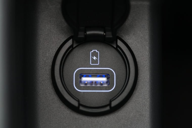 Car interior, car usb charger detail