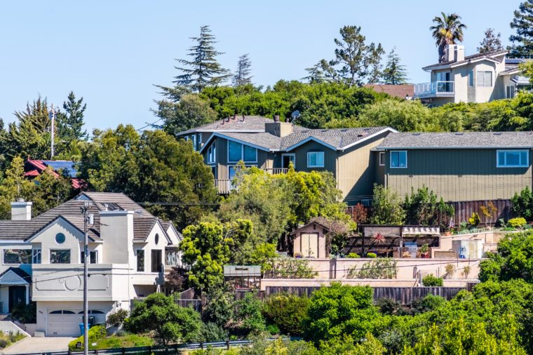 Exterior view of houses located in a residential neighborhood; Redwood City; San Francisco bay area, California