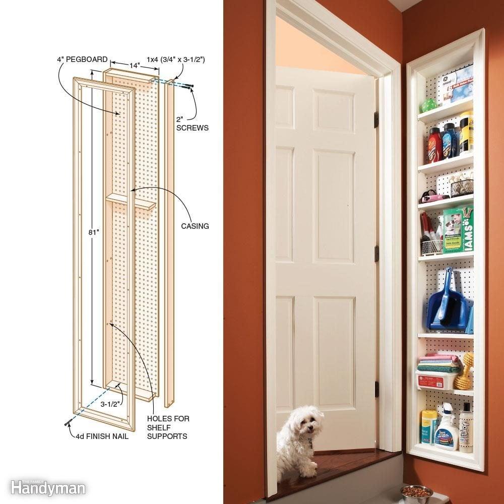 Narrow Storage Shelves: Stud Space Cabinet