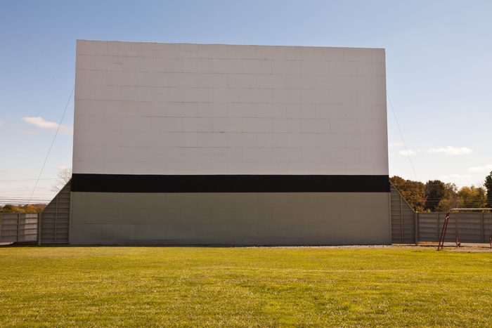 Large vintage outdoor drive-in movie theater - front view