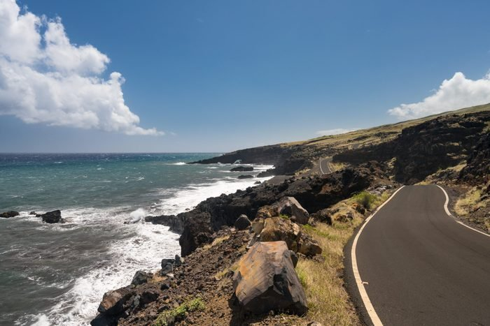 Lonely and remote winding road past Hana around south of Maui along the coastline