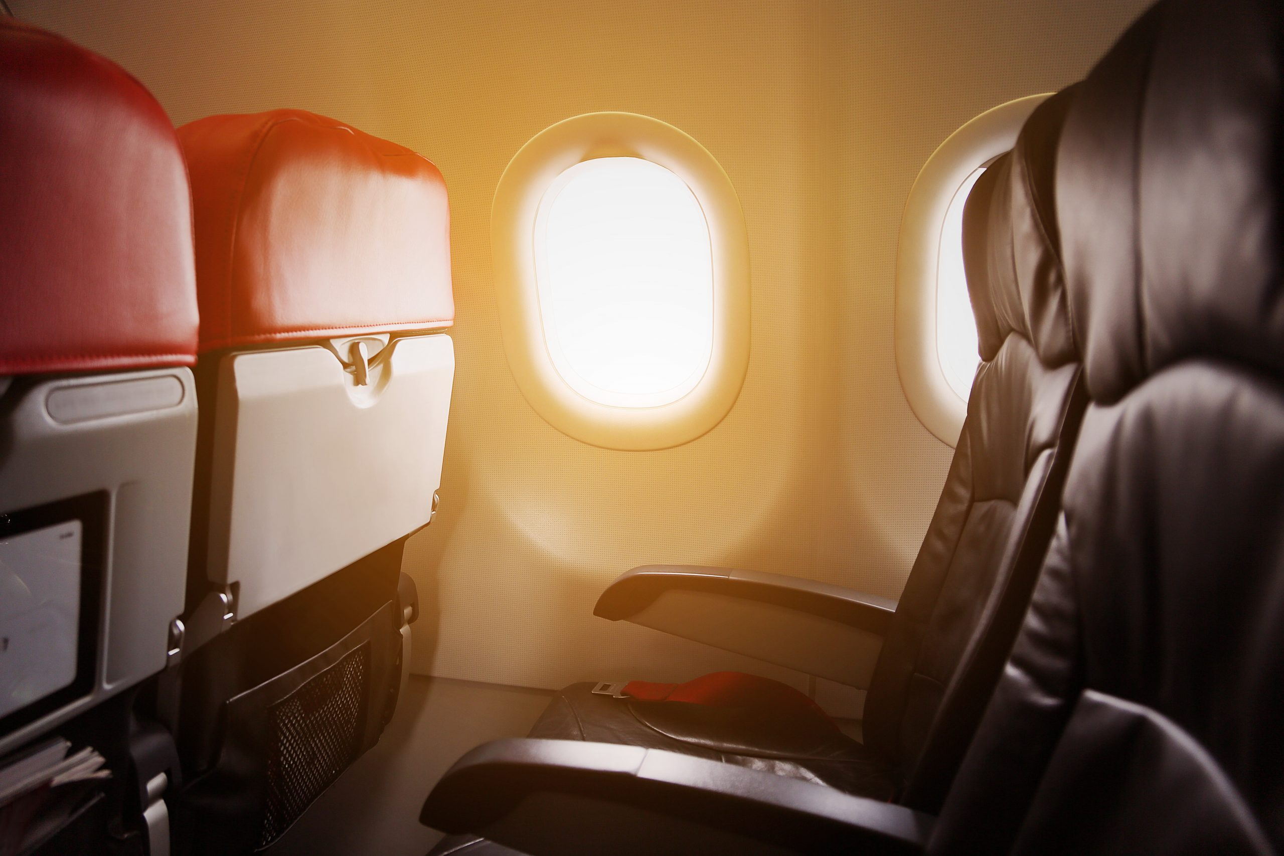 Lonely travel by airplane to somewhere, Journey for business by airplane and see out of the window, Sky view from air travel on high level, Airplane interior for first class level and support VIP.