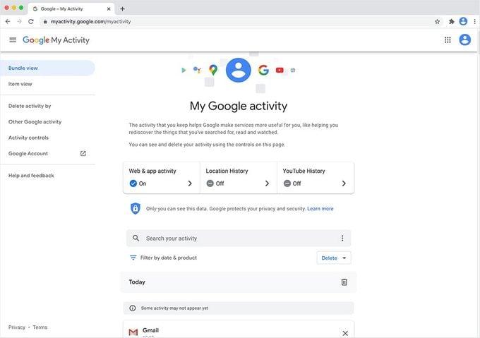 My Google Activity homepage