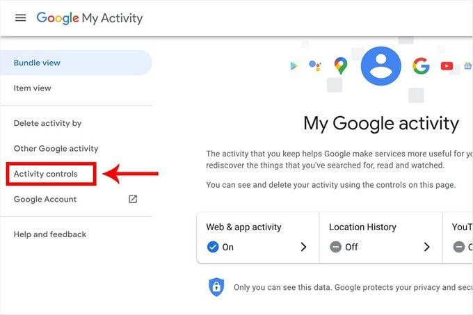 My Google Activity Click On Activity Controls