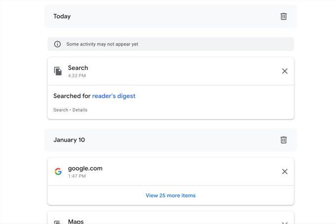 My Google Activity Screen Showing Activity
