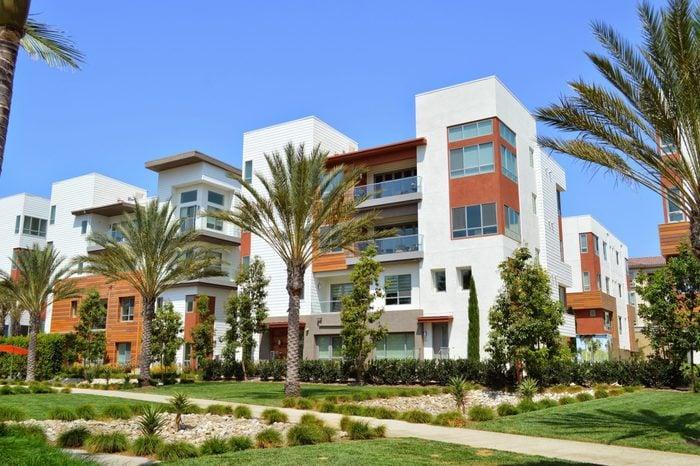 New modern homes in an upmarket residential neighborhood Playa Vista, CA.