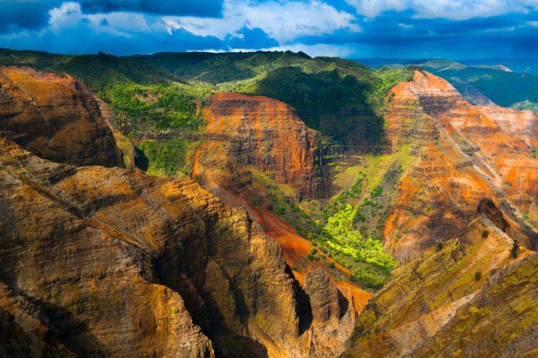 Overlooking Waimea Canyon State Park on the island of Kauai, Hawaii, USA, nicknamed the Grand Canyon of the Pacific.
