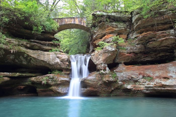 Panoramic view of the beautiful upper falls at Old Man's Cave in Hocking Hills State Park, Ohio.