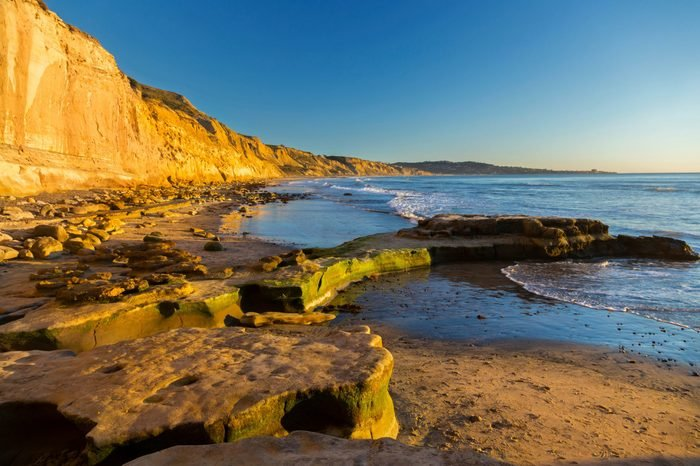 Scenic Panoramic Landscape of Distant La Jolla Shores and Pacific Ocean from Torrey Pines State Beach north of San Diego California