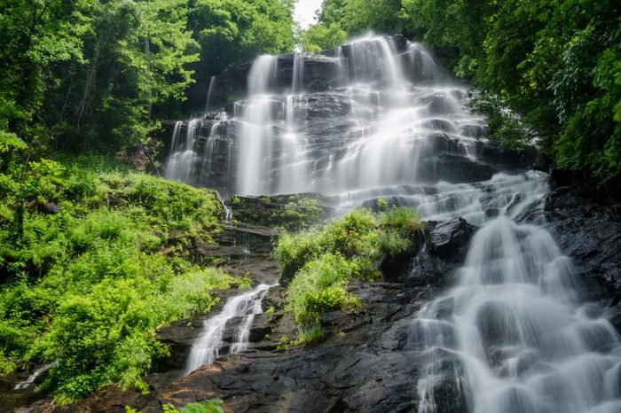 Slow shutter speed of Amicalola Falls in Georgia in Summer