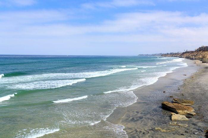 Azure Pacific Ocean Waters and Rock Cliffs , Solana Beach, CA