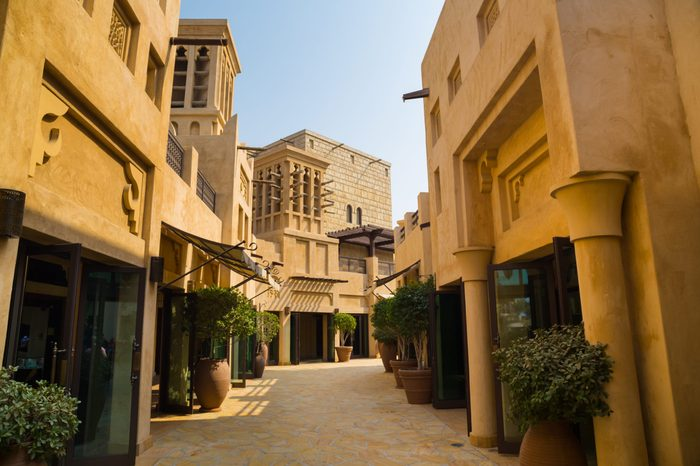 Traditional architecture of middle east mall, souks, Dubai