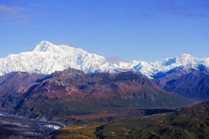 View of Mount McKinley from the south side in the Denali National Park and Preserve, Alaska